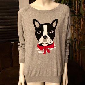 Etam Gray Long Sleeve Boston Terrier Sweater XL